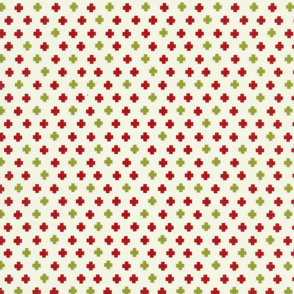 Red and green crosses on a white background | Shabby Fabrics