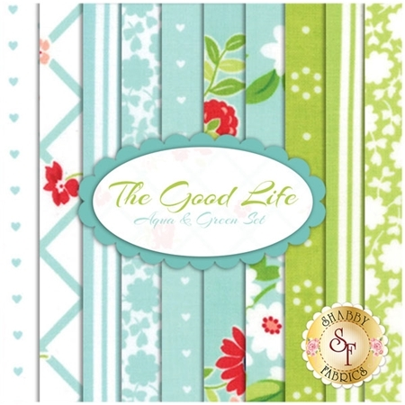 The Good Life  10 FQ Set - Aqua & Green Set by Bonnie & Camille for Moda Fabrics