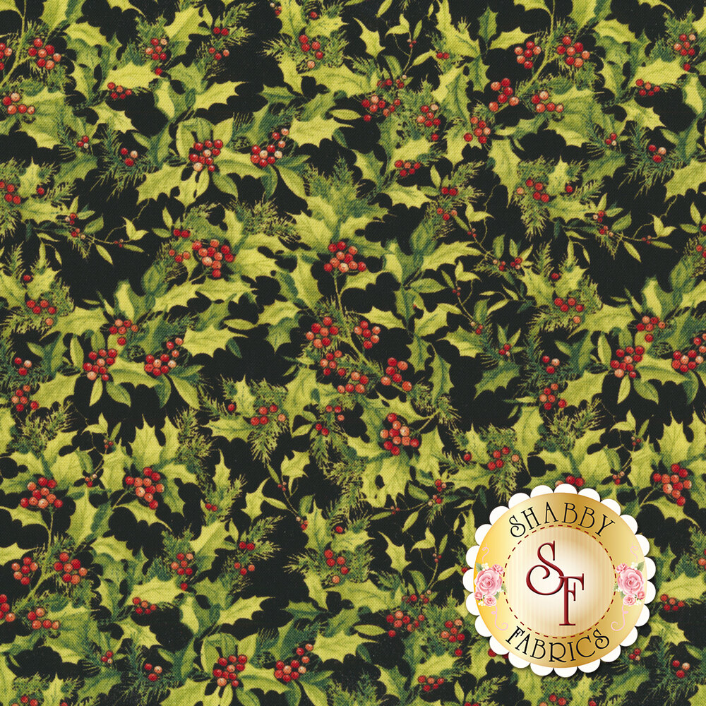 Holly and berries all over a black background | Shabby Fabrics