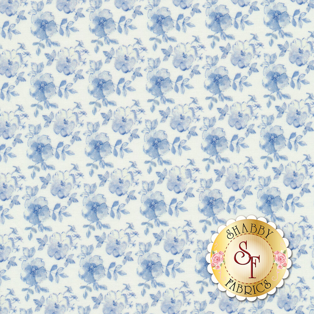 Small blue flowers tossed on white | Shabby Fabrics