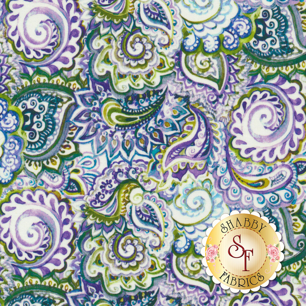 Multicolored packed paisley design | Shabby Fabrics
