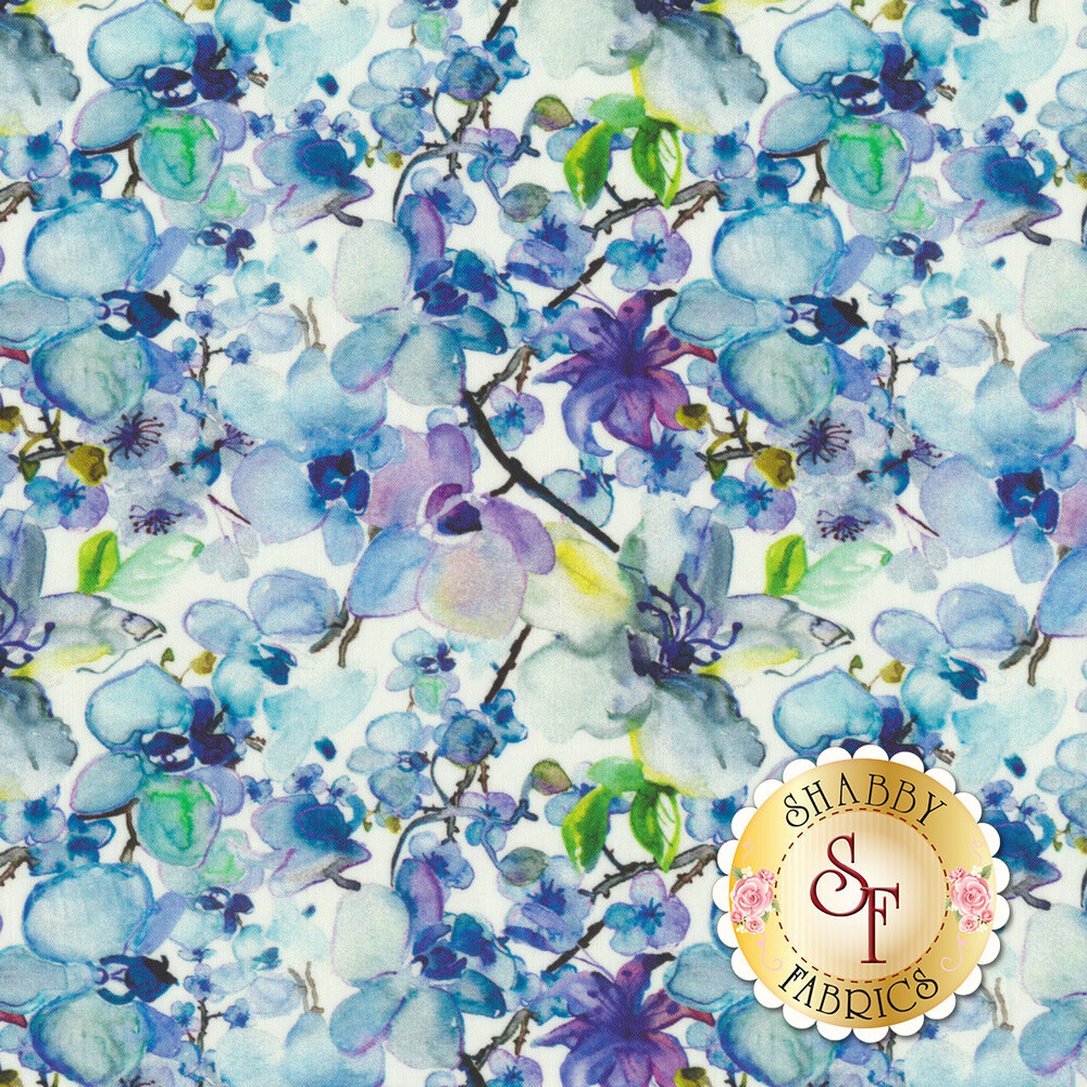 Blue/green flowers and vines all over white | Shabby Fabrics