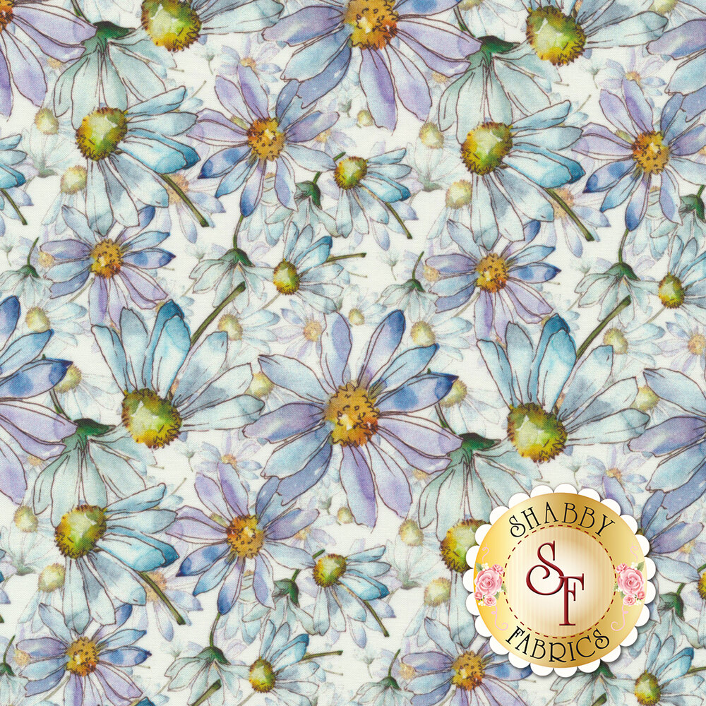 Blue/green flowers and stems all over white | Shabby Fabrics