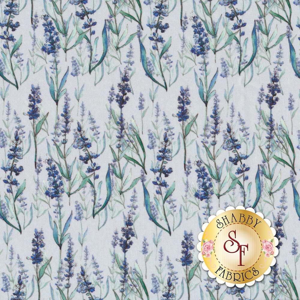Flowers on stems with leaves on light blue | Shabby Fabrics