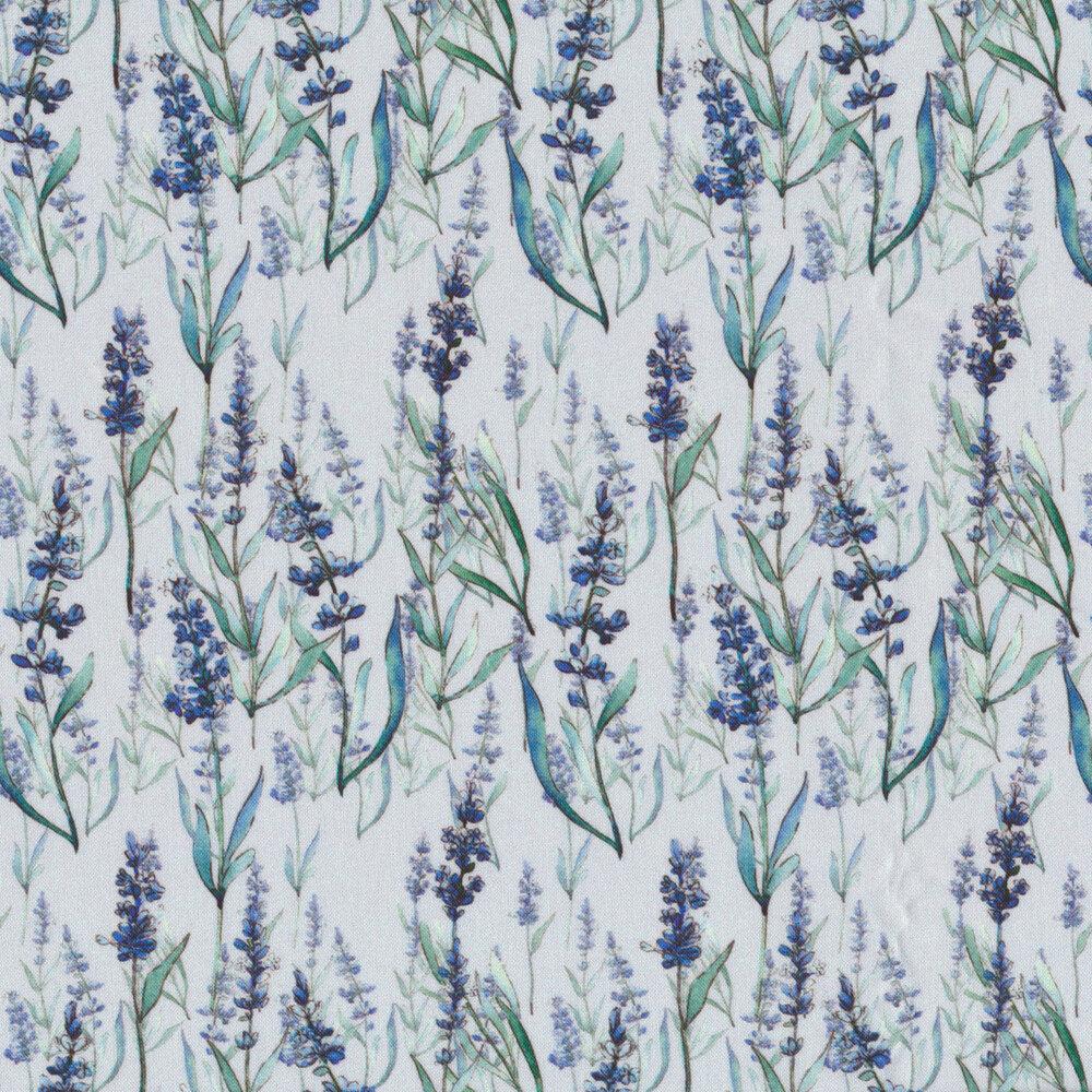 Flowers on stems with leaves on light blue | Shabby Fabrics