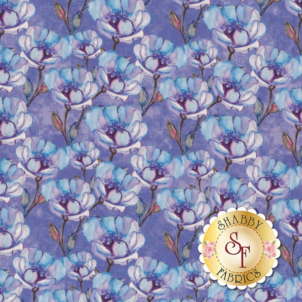 Tonal flowers all over purple | Shabby Fabrics