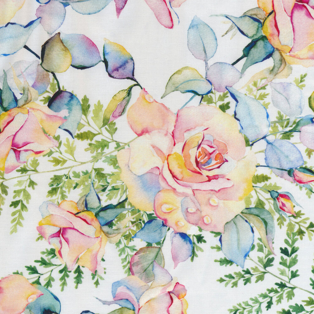 Watercolor floral on white   Shabby Fabrics