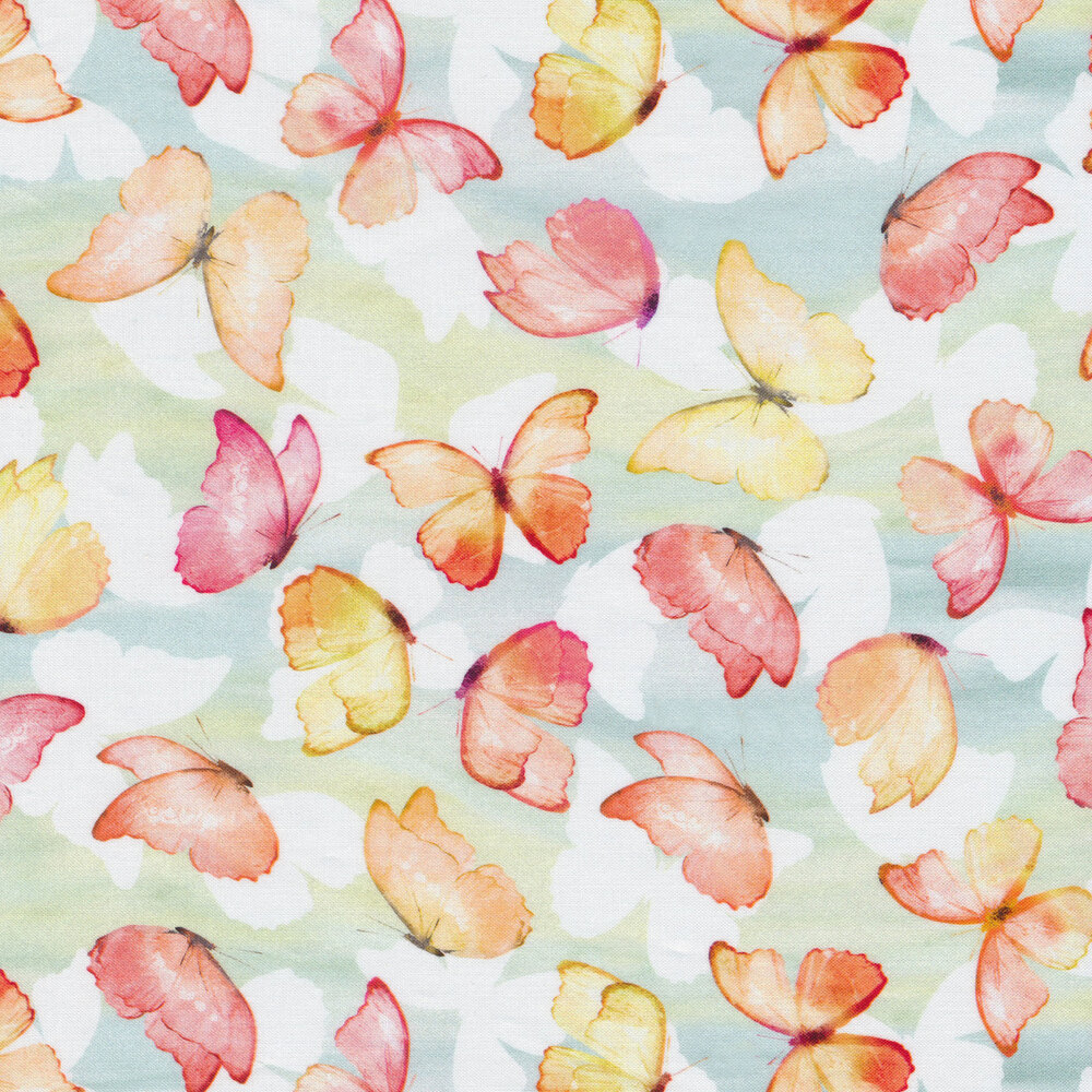 Pink, red, and yellow butterflies on pastel blue and green | Shabby Fabrics