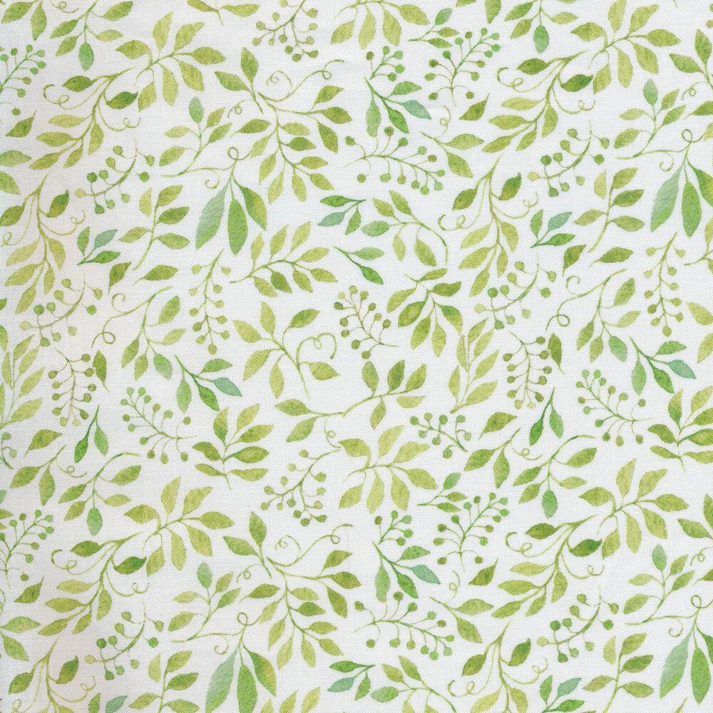 Green leaves all over white   Shabby Fabrics