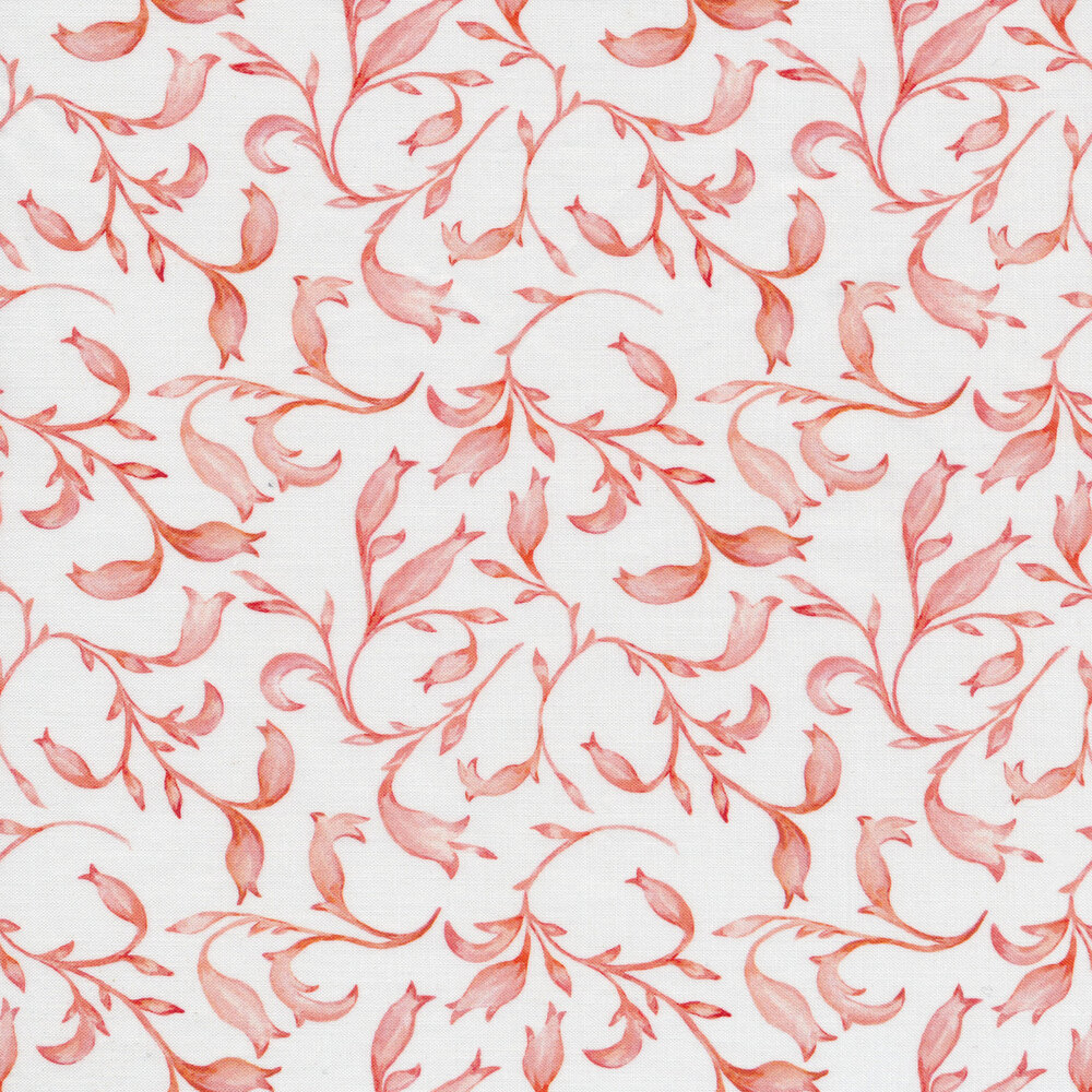 Pink leaves all over white | Shabby Fabrics
