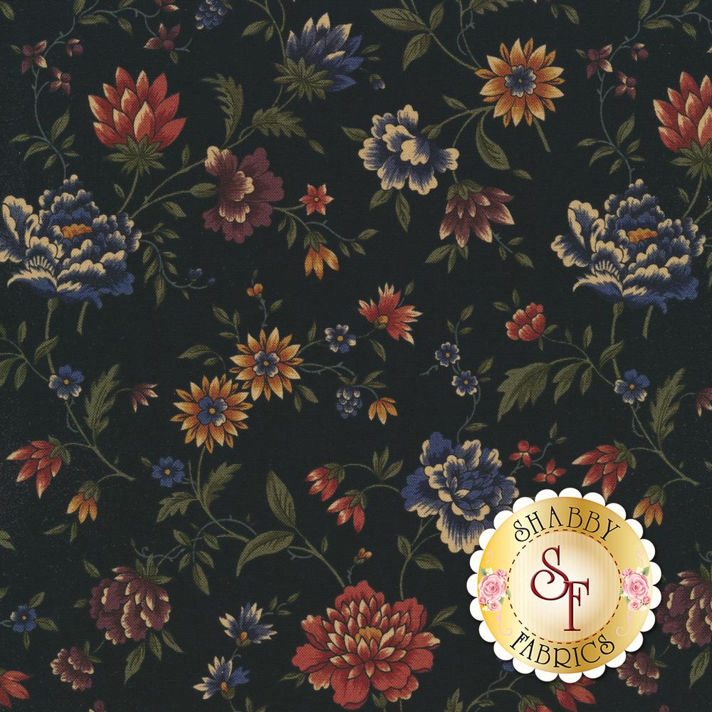 Elegant flowers on a black background | Shabby Fabrics