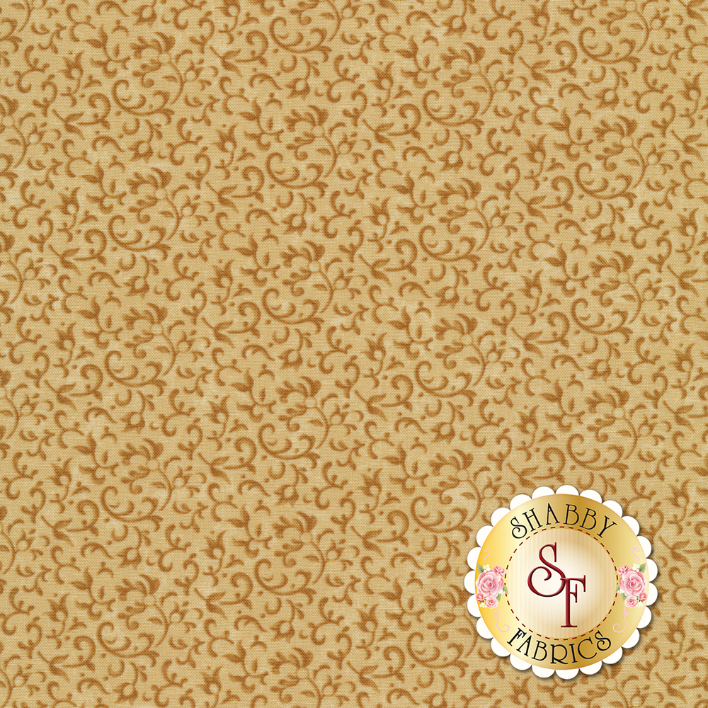 Tonal vines and scrolls on a tan background | Shabby Fabrics