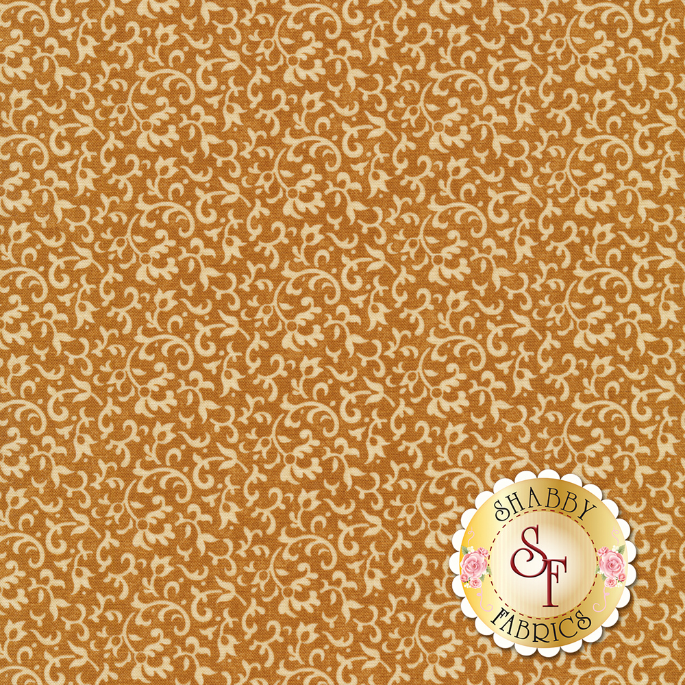 Light tan vines and scrolls on a dark brown background | Shabby Fabrics