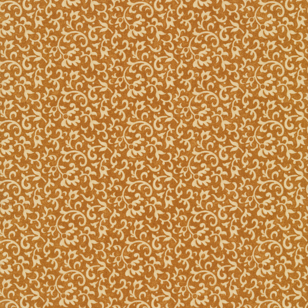 Light tan vines and scrolls on a dark brown background | Shabby Fabrics