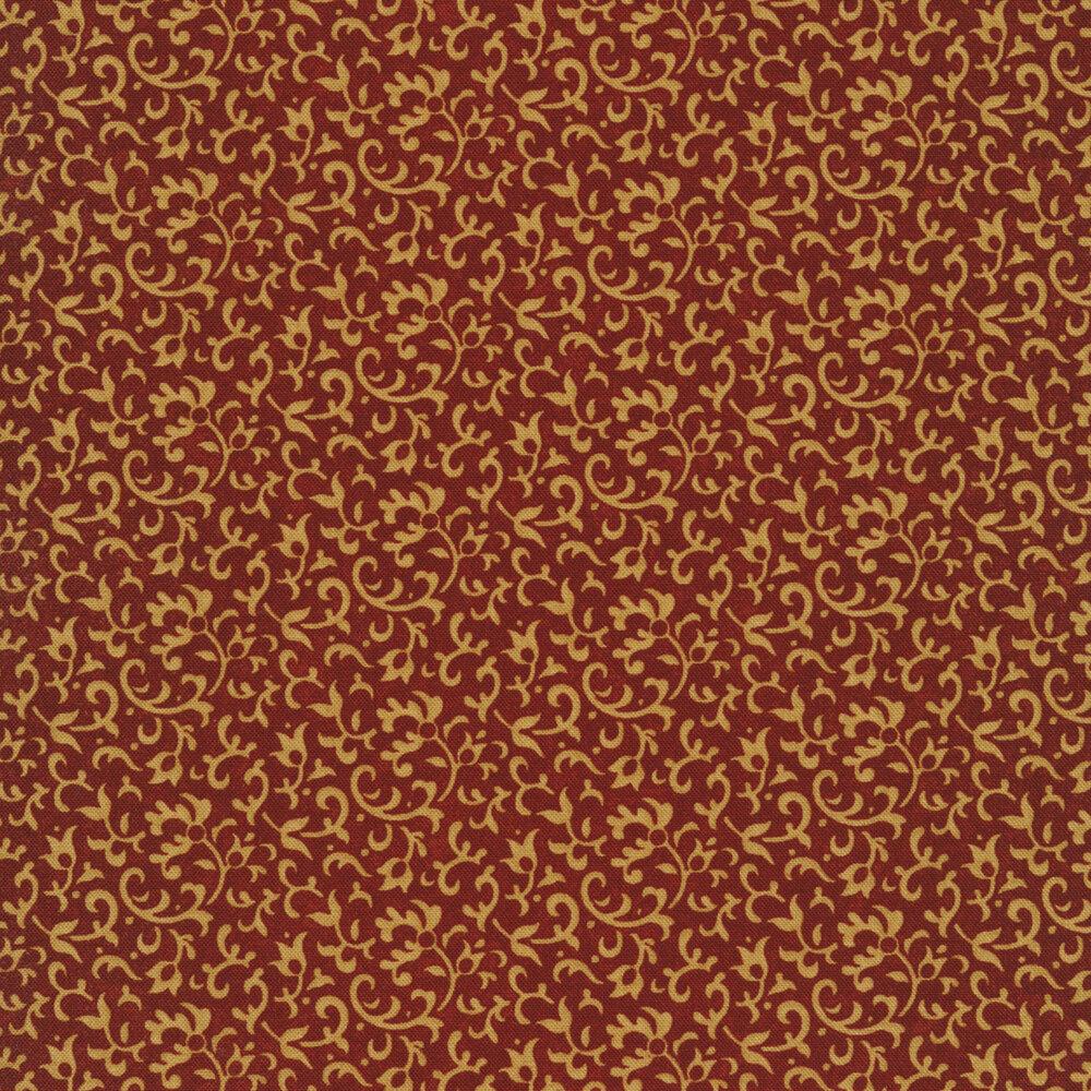Light tan vines and scrolls on a dark red background | Shabby Fabrics