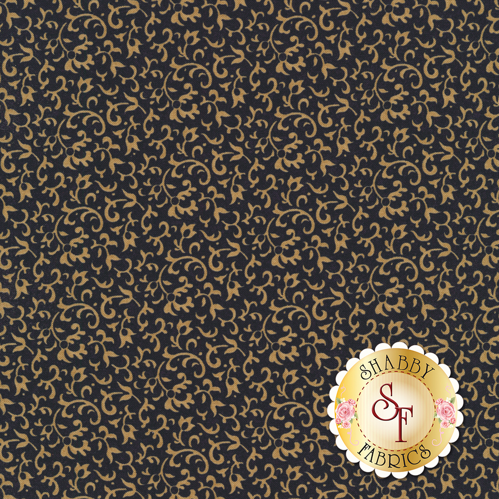 Light tan vines and scrolls on a dark navy background | Shabby Fabrics