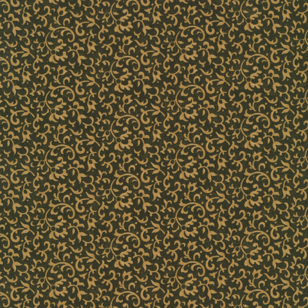 Light tan vines and scrolls on a dark green background | Shabby Fabrics