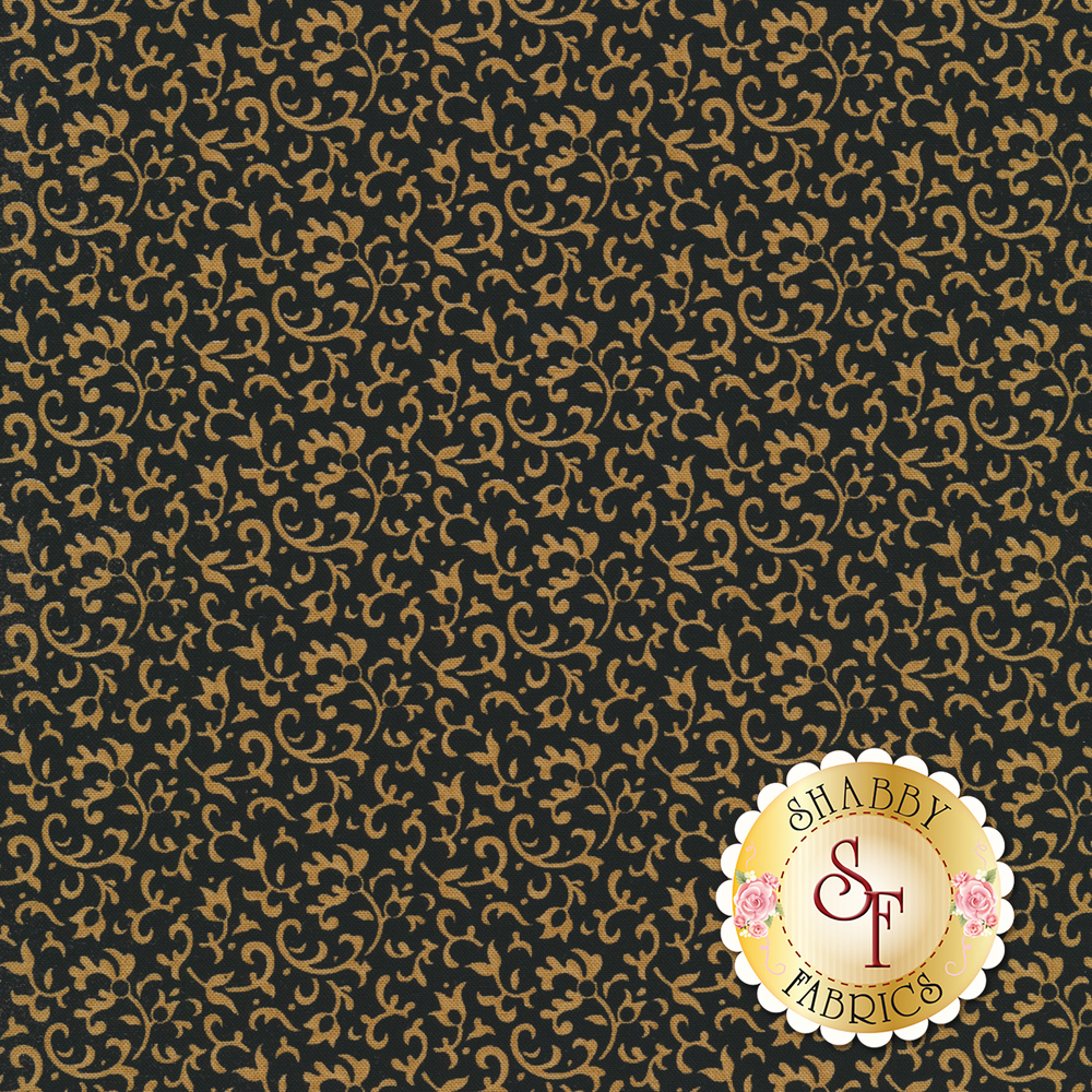 Light tan vines and scrolls on a black background | Shabby Fabrics