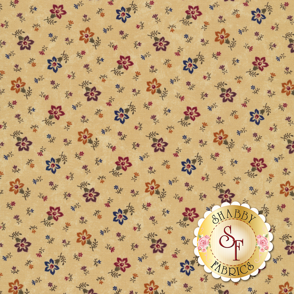 Tossed flowers on a mottled tan background   Shabby Fabrics