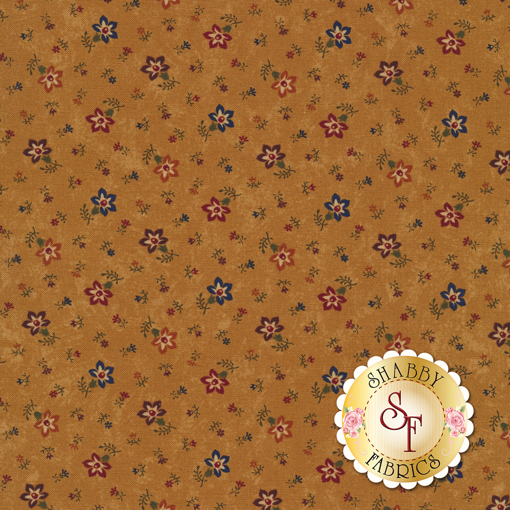 Tossed flowers on a mottled brown background | Shabby Fabrics