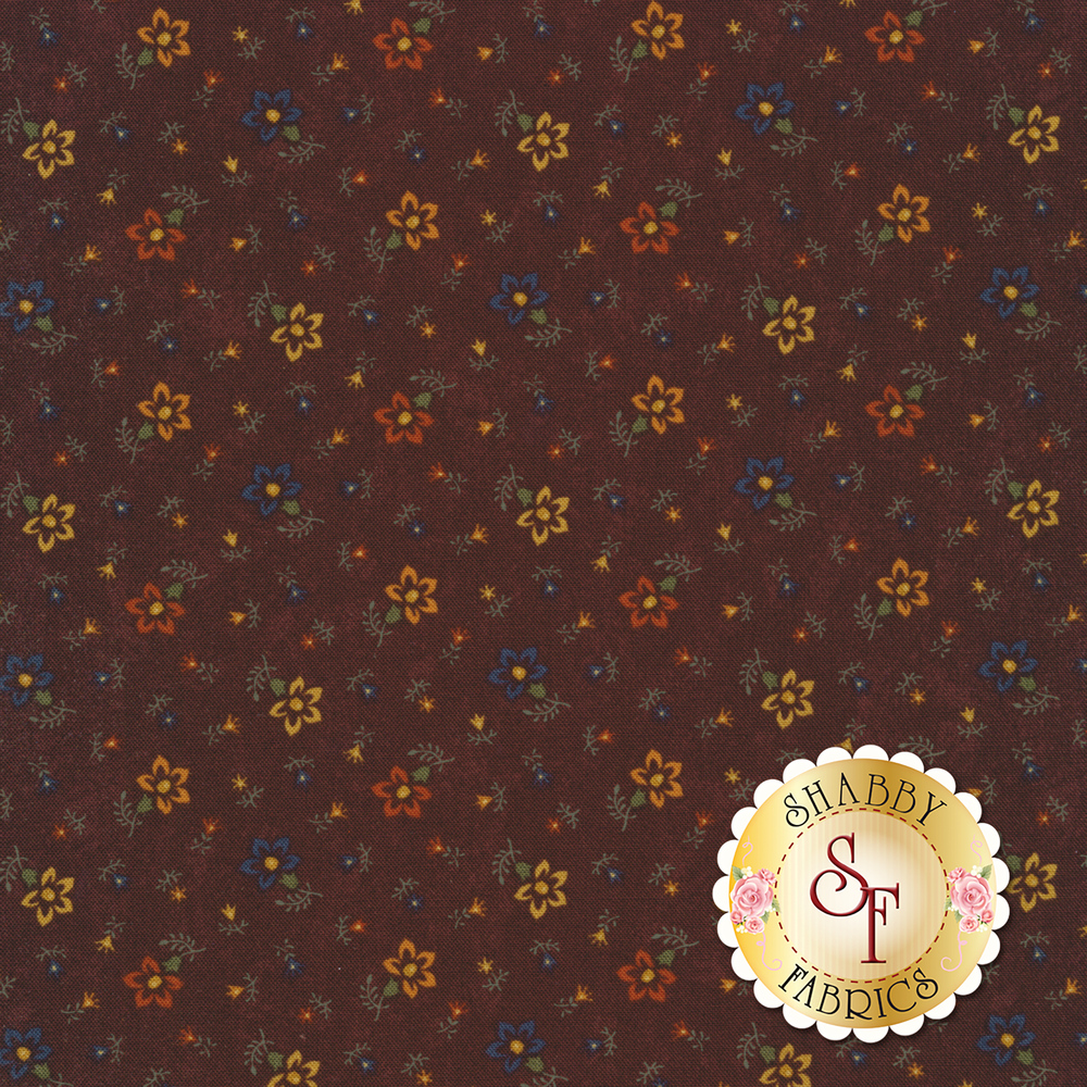 Tossed flowers on a mottled red background | Shabby Fabrics