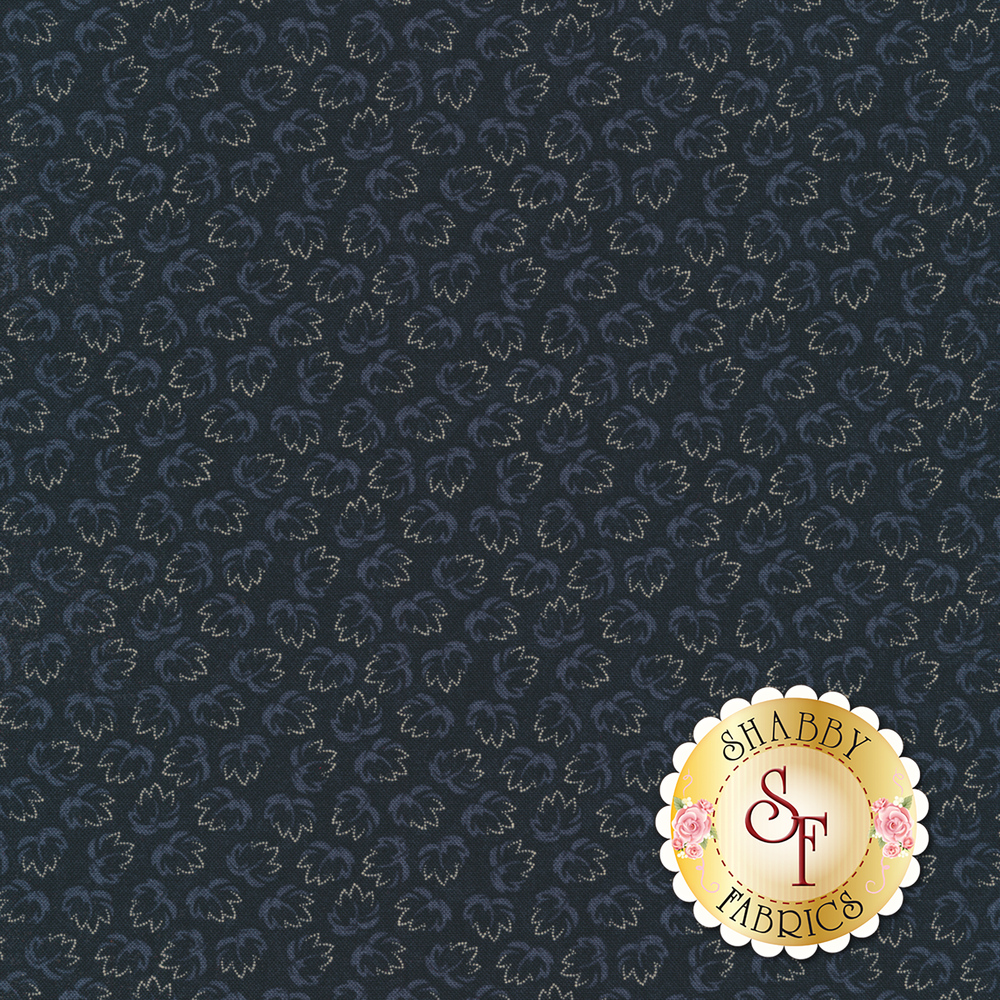 Tossed leaves on a navy background | Shabby Fabrics