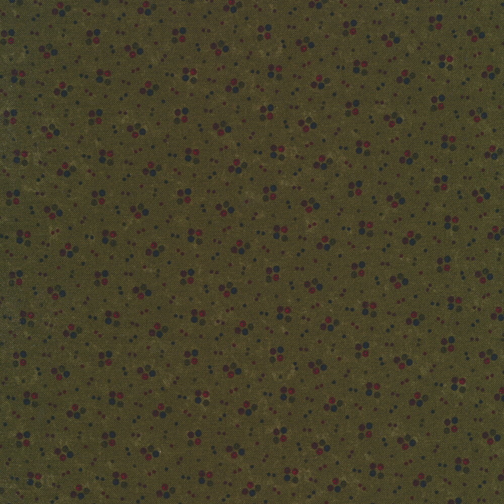 Multi colored spots on a green distressed background | Shabby Fabrics
