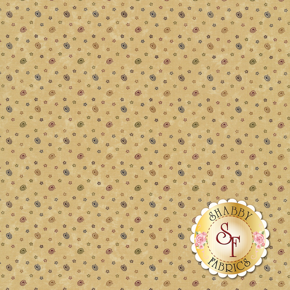 Swirls and small stars on a distressed tan background | Shabby Fabrics