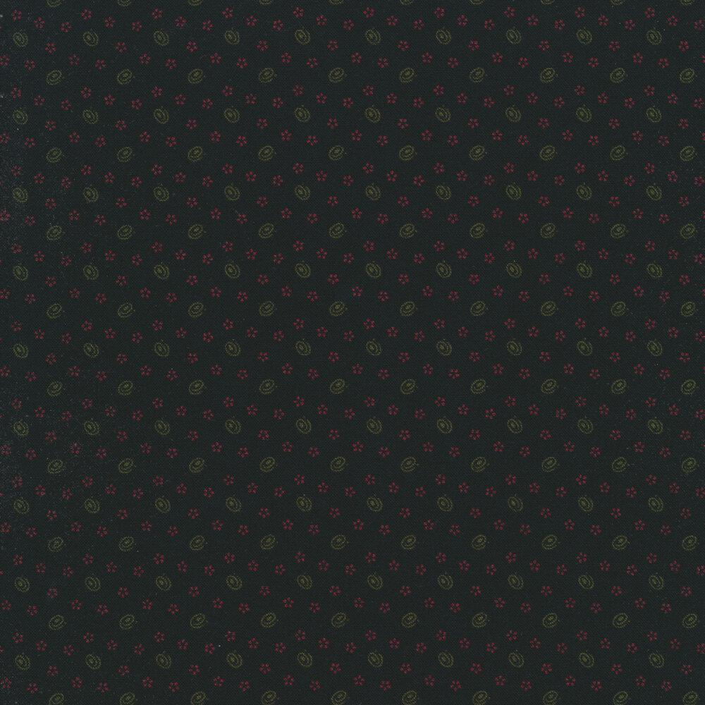 Swirls and small stars on a distressed black background | Shabby Fabrics