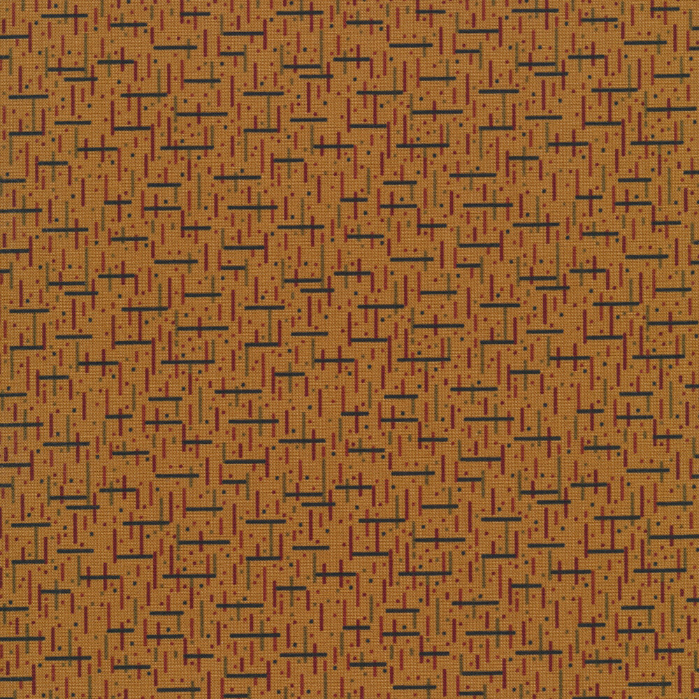 Tiny block pattern with filled in squares on a brown background | Shabby Fabrics
