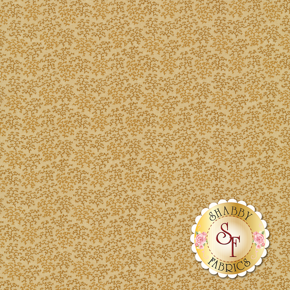 Tonal leaves and vines on a tan background | Shabby Fabrics