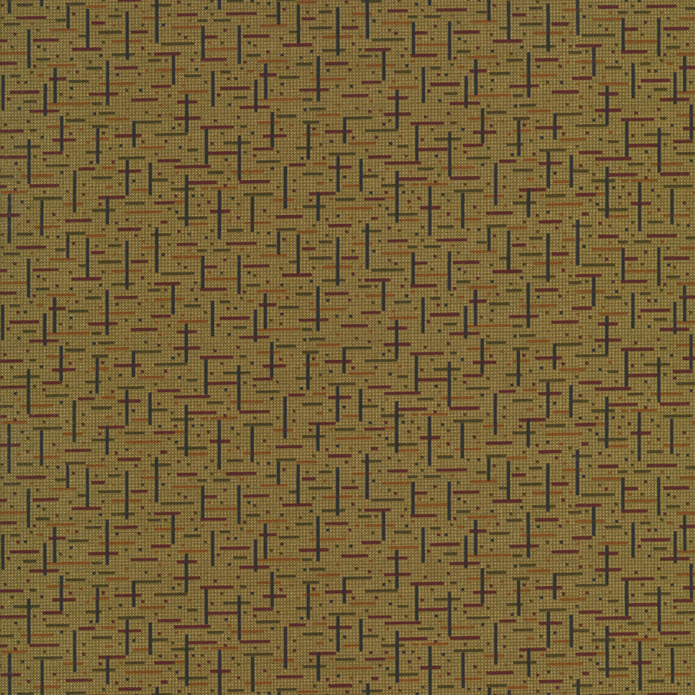 Tiny block pattern with filled in squares on a green background | Shabby Fabrics