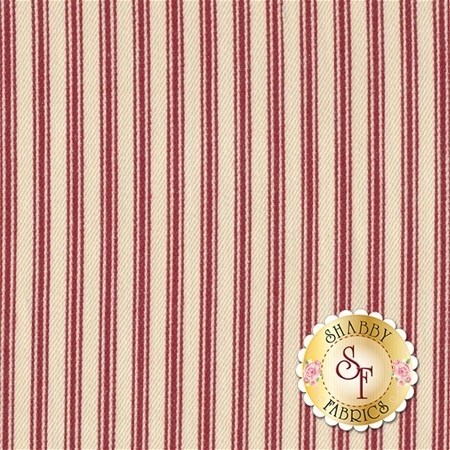 "Striped Ticking TS-13 Natural/Red by Diamond Textiles - 54"" Wide"