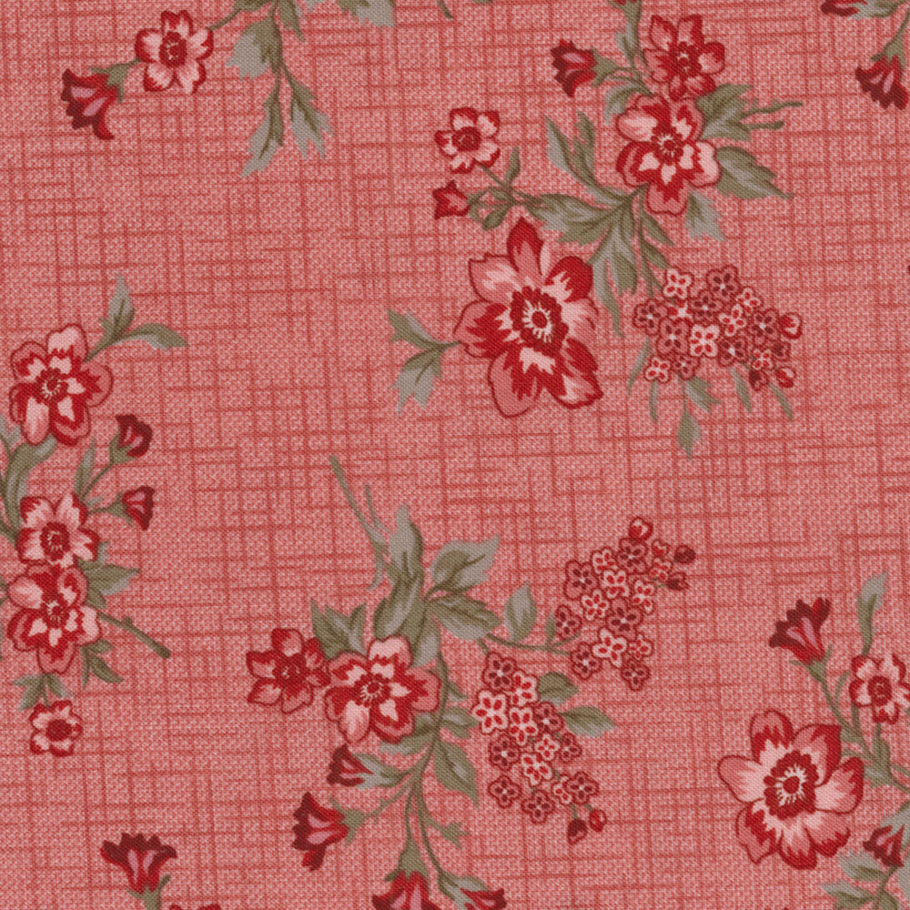 Tickled Pink 2233-22 Pink Vintage Floral Toss for Shabby Fabrics