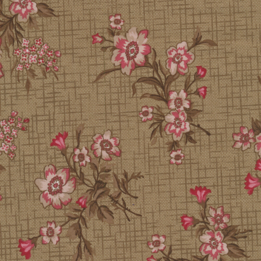 Pink floral bunches on a green crosshatch background