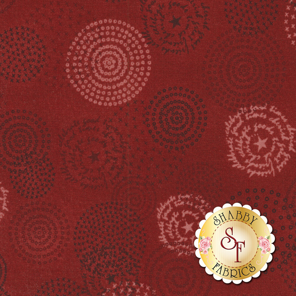 Tickled Pink  2234-88 Red Circles for Henry Glass Fabrics
