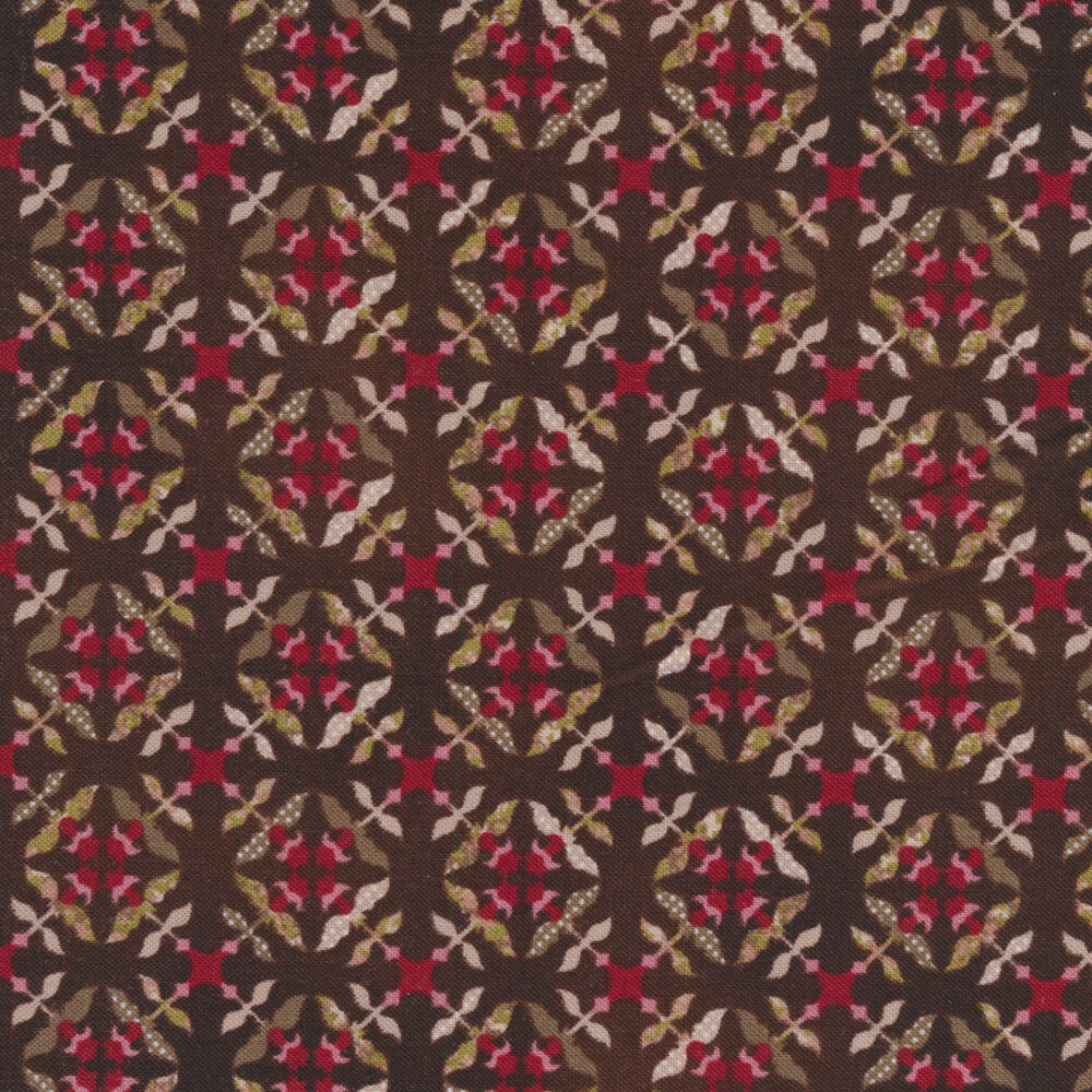 Tickled Pink 2235-38 Brown for Henry Glass Fabrics