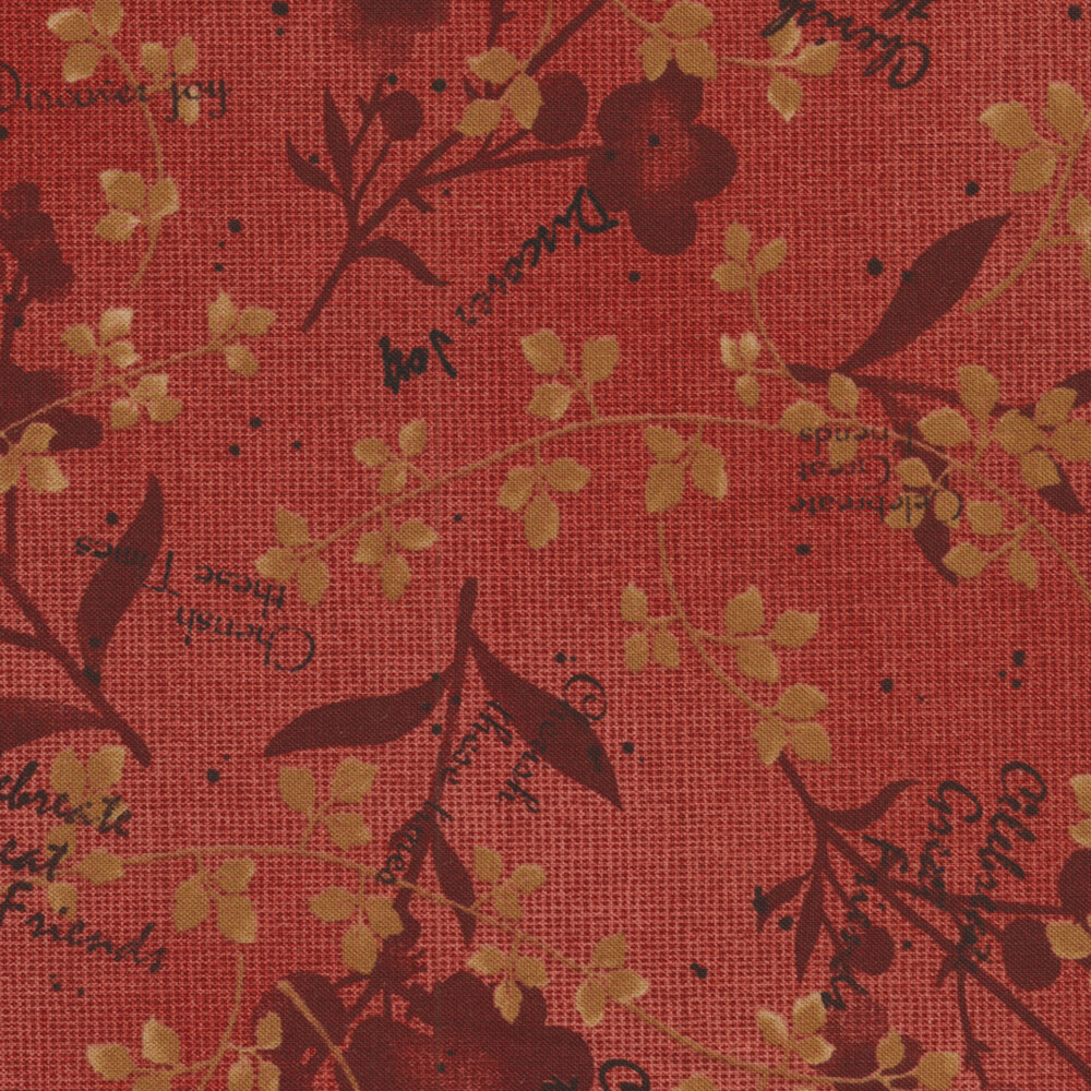 Tickled Pink 2236-88 Red Natural Silhouette for Henry Glass Fabrics