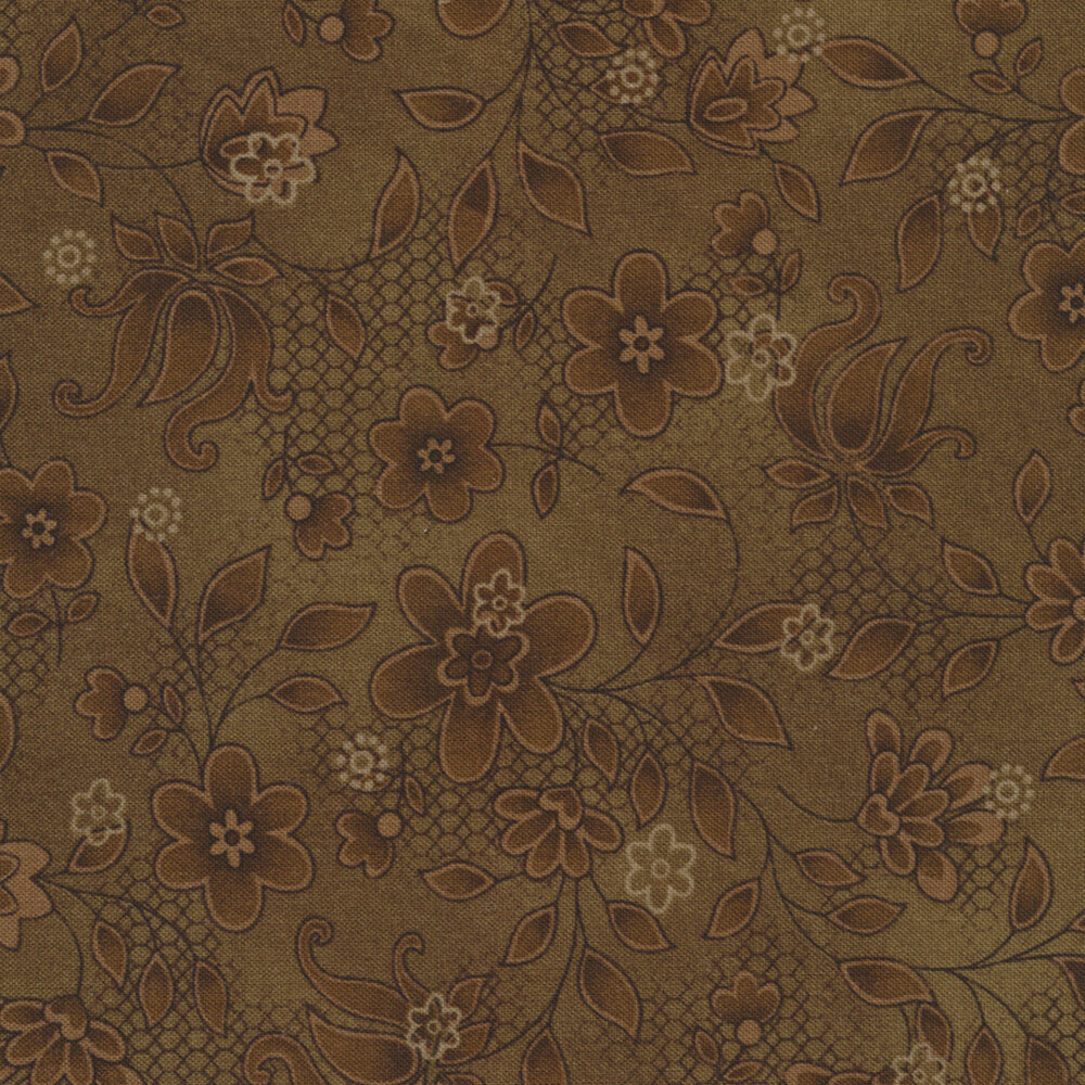 Tickled Pink  2238-38 Brown Lacey Floral for Henry Glass Fabrics