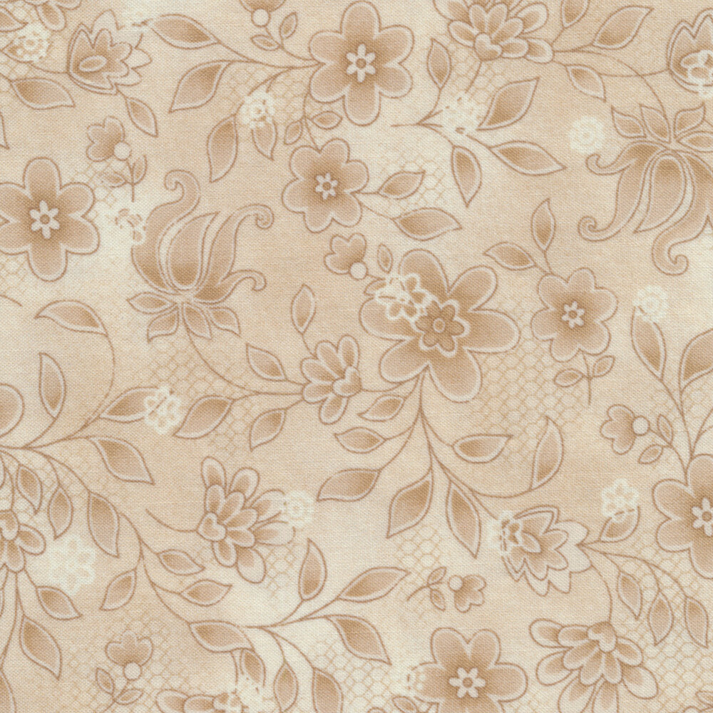 Tickled Pink  2238-44 Cream Lacey Floral for Henry Glass Fabrics