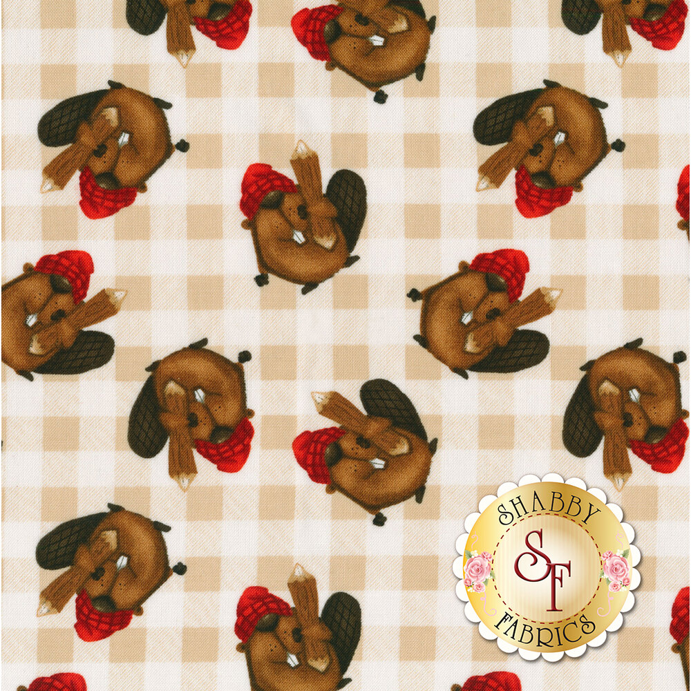 Tossed beavers on a tan checkered background | Shabby Fabrics