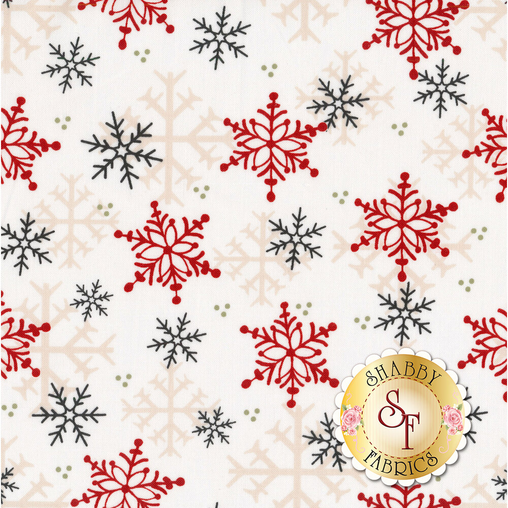 Different colored snowflakes on a white background | Shabby Fabrics