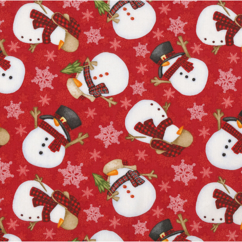 Tossed snowmen and snowflakes on a red background | Shabby Fabrics
