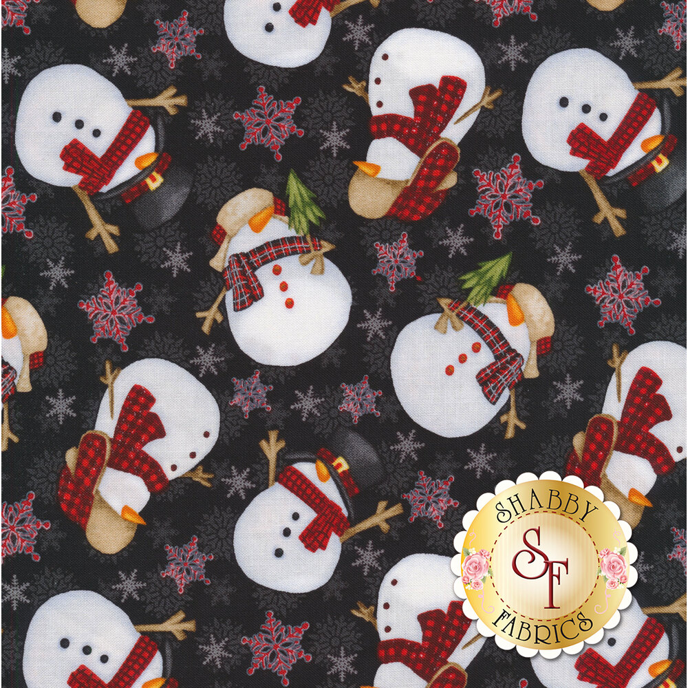 Tossed snowmen and snowflakes on a black background | Shabby Fabrics