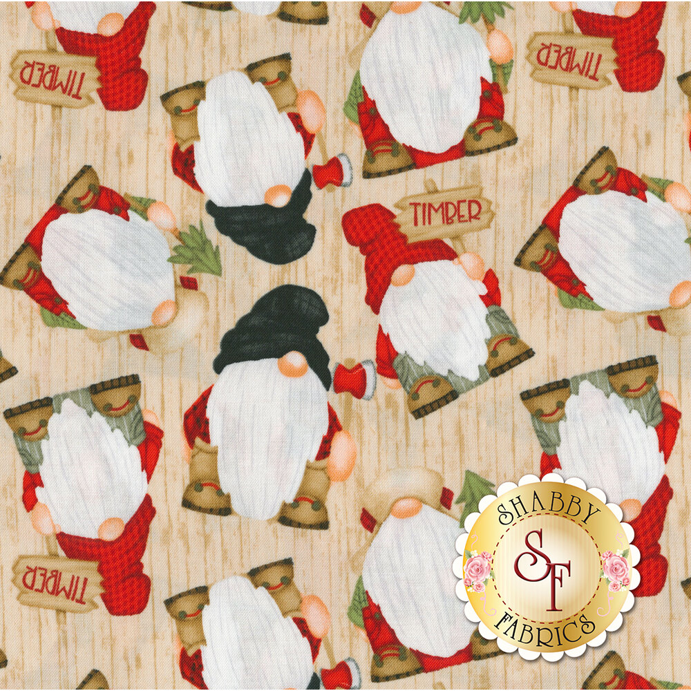 Tossed gnomes on a tan wood grain background   Shabby Fabrics
