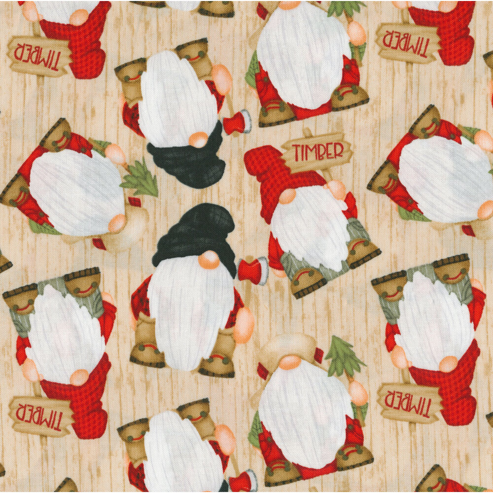 Tossed gnomes on a tan wood grain background | Shabby Fabrics