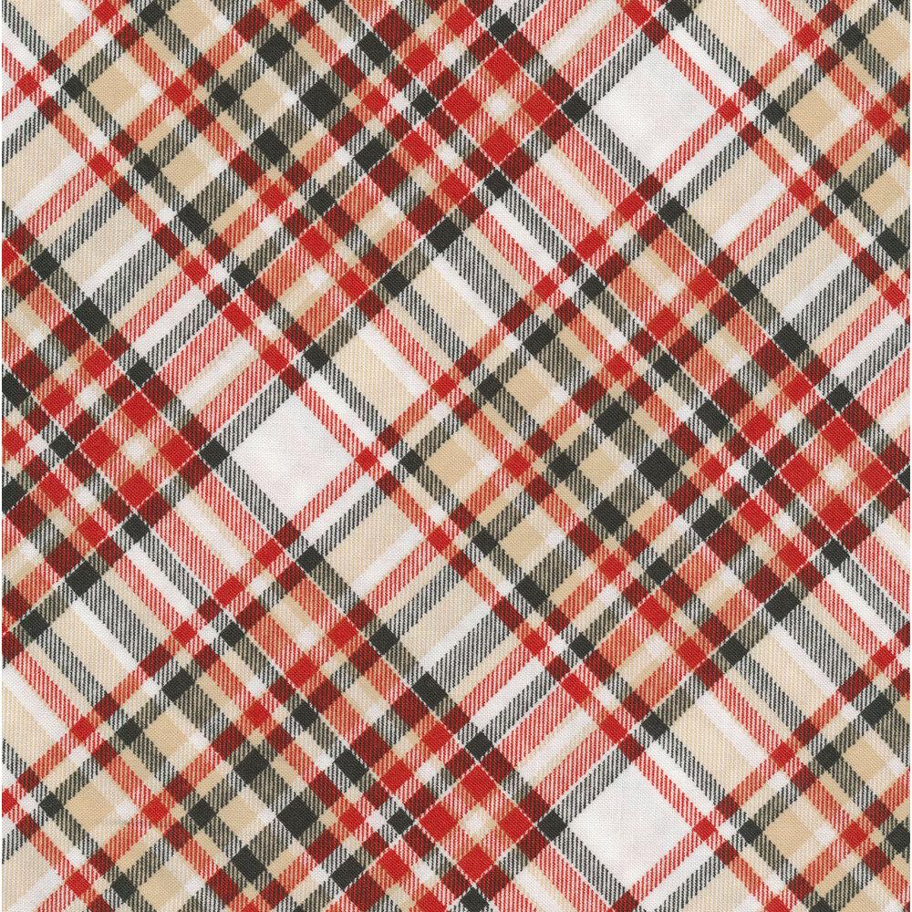 Red, black, and tan plaid fabric | Shabby Fabrics