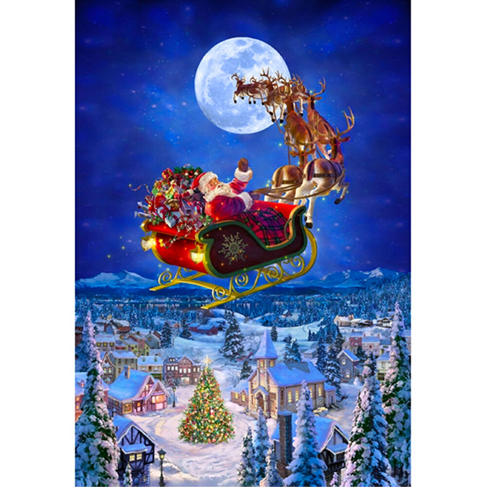 To All A Good Night Panel - Santa In His Sleigh S4747-161 by Hoffman Fabrics
