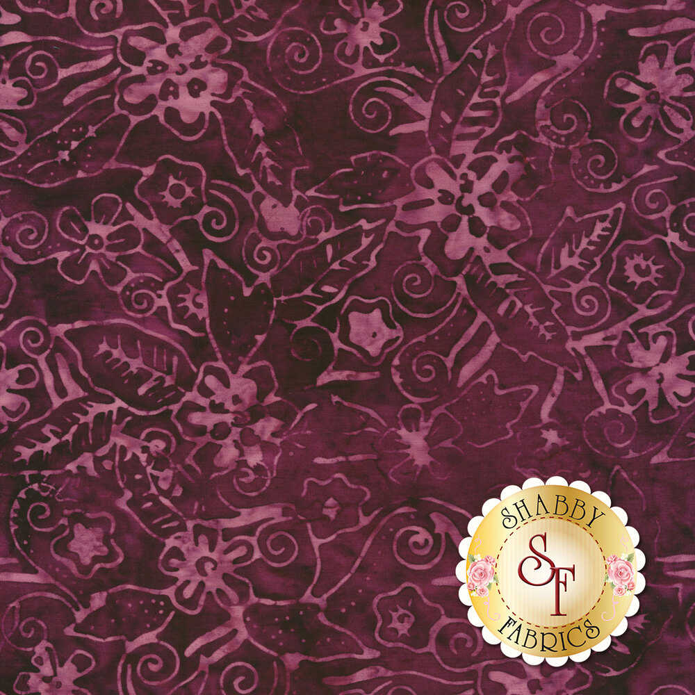 Tonal floral design on dark purple batik | Shabby Fabrics