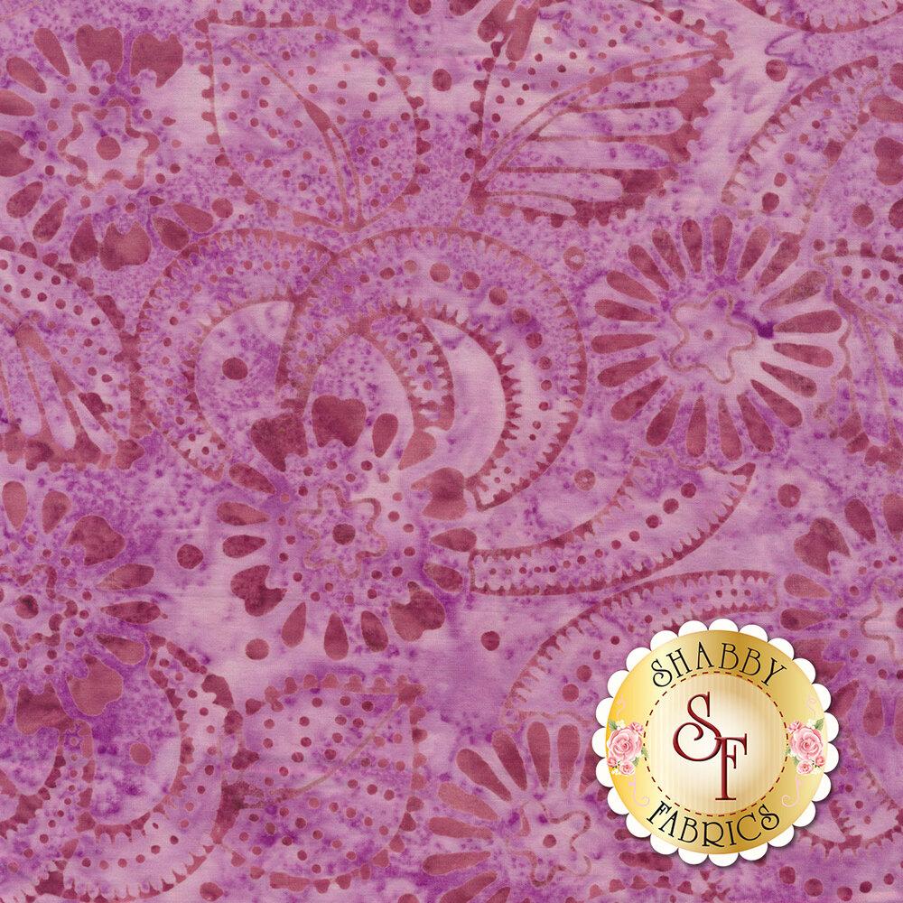 Tonal purple flowers and dots on mottled batik | Shabby Fabrics